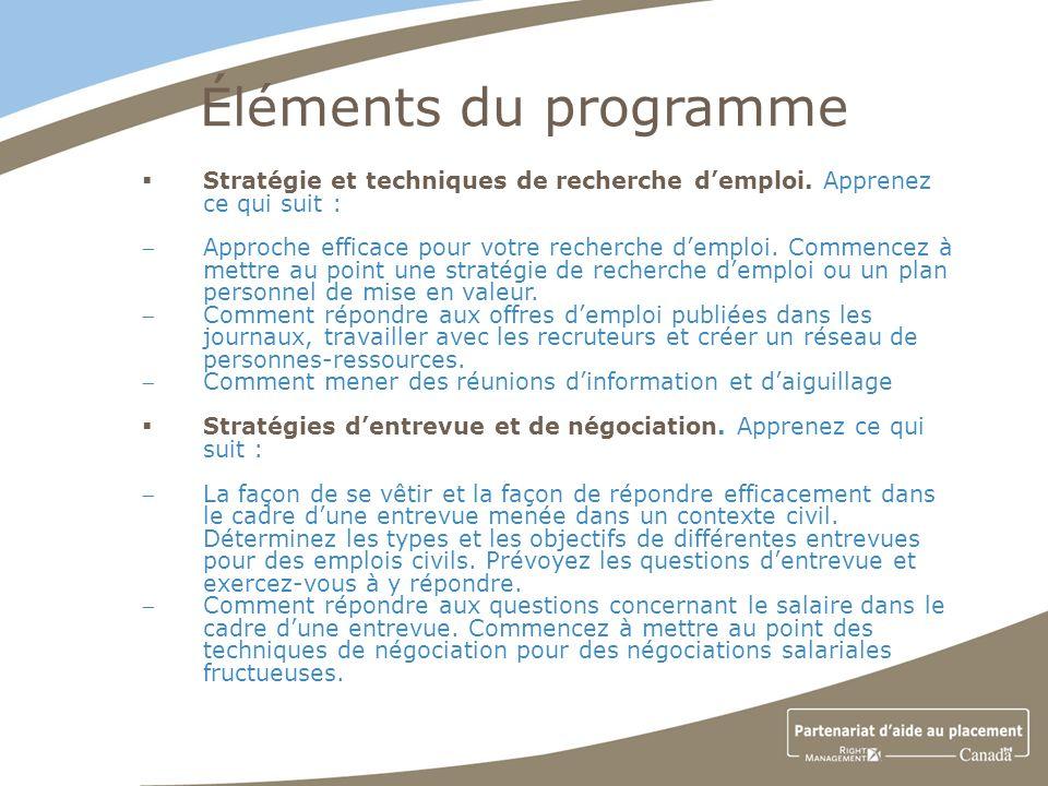 Éléments du programme Stratégie et techniques de recherche demploi.