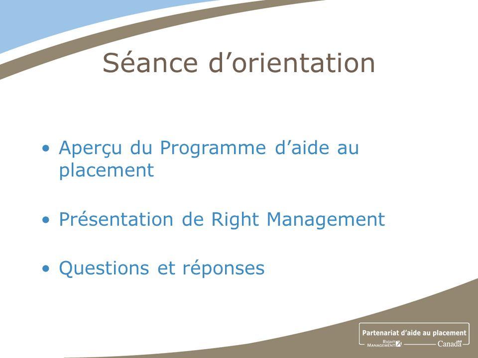 Séance dorientation Aperçu du Programme daide au placement Présentation de Right Management Questions et réponses