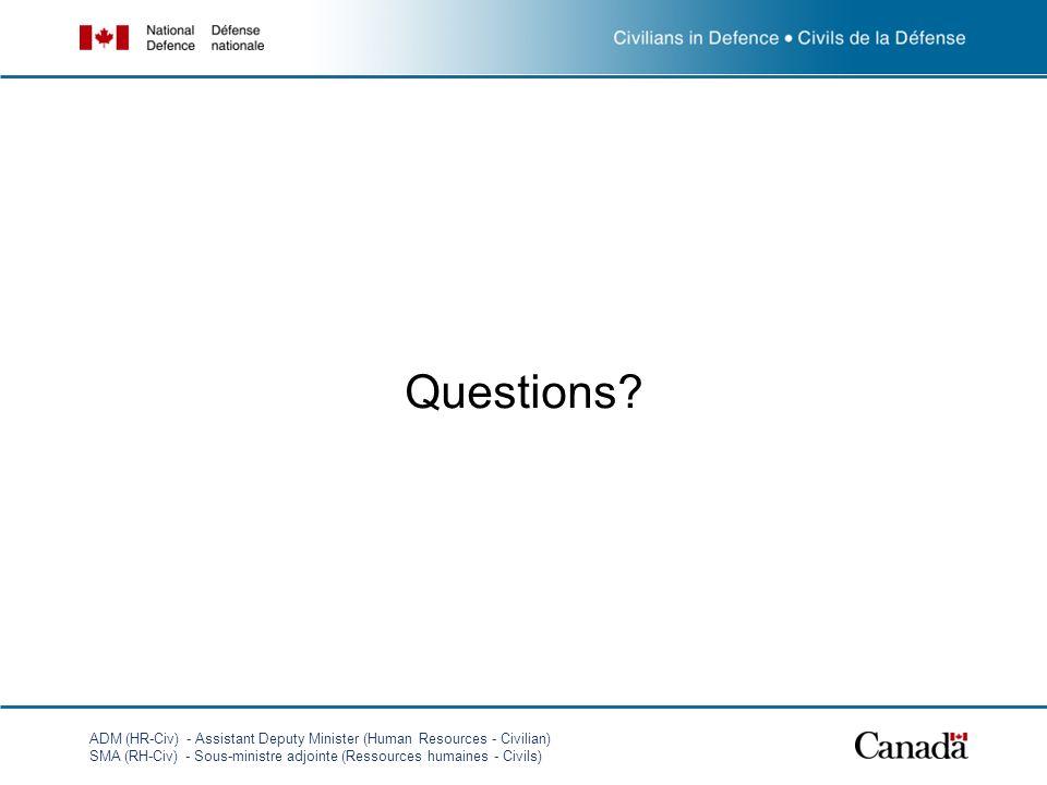 ADM (HR-Civ) - Assistant Deputy Minister (Human Resources - Civilian) SMA (RH-Civ) - Sous-ministre adjointe (Ressources humaines - Civils) Questions?