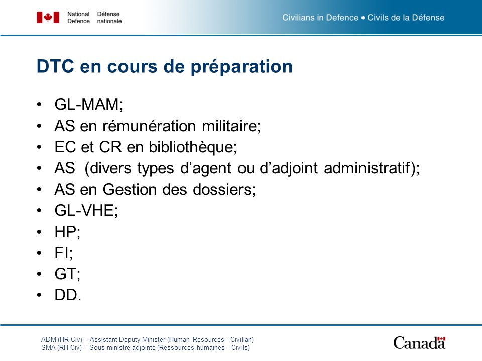 ADM (HR-Civ) - Assistant Deputy Minister (Human Resources - Civilian) SMA (RH-Civ) - Sous-ministre adjointe (Ressources humaines - Civils) DTC en cours de préparation GL-MAM; AS en rémunération militaire; EC et CR en bibliothèque; AS (divers types dagent ou dadjoint administratif); AS en Gestion des dossiers; GL-VHE; HP; FI; GT; DD.