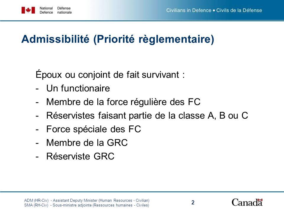 ADM (HR-Civ) - Assistant Deputy Minister (Human Resources - Civilian) SMA (RH-Civ) - Sous-ministre adjointe (Ressources humaines - Civiles) 2 Époux ou conjoint de fait survivant : -Un functionaire -Membre de la force régulière des FC -Réservistes faisant partie de la classe A, B ou C -Force spéciale des FC -Membre de la GRC -Réserviste GRC Admissibilité (Priorité règlementaire)