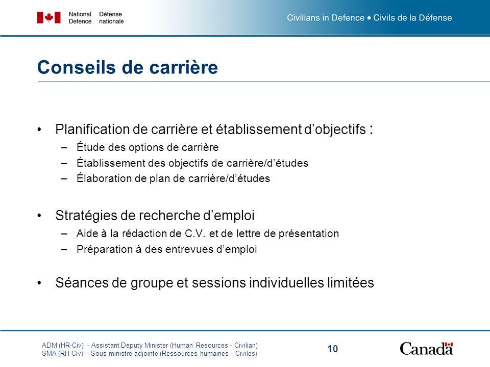 ADM (HR-Civ) - Assistant Deputy Minister (Human Resources - Civilian) SMA (RH-Civ) - Sous-ministre adjointe (Ressources humaines - Civiles) 10 Conseil