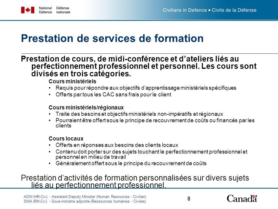 ADM (HR-Civ) - Assistant Deputy Minister (Human Resources - Civilian) SMA (RH-Civ) - Sous-ministre adjointe (Ressources humaines - Civiles) 8 Prestation de services de formation Prestation de cours, de midi-conférence et dateliers liés au perfectionnement professionnel et personnel.