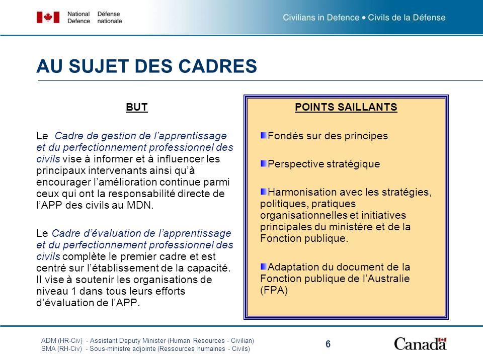 ADM (HR-Civ) - Assistant Deputy Minister (Human Resources - Civilian) SMA (RH-Civ) - Sous-ministre adjointe (Ressources humaines - Civils) 6 AU SUJET