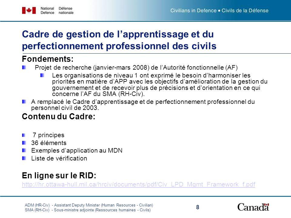 ADM (HR-Civ) - Assistant Deputy Minister (Human Resources - Civilian) SMA (RH-Civ) - Sous-ministre adjointe (Ressources humaines - Civils) 8 Cadre de