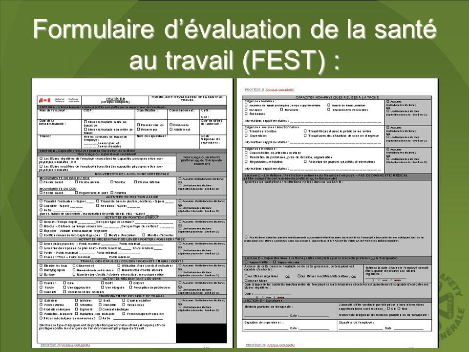 Formulaire dévaluation de la santé au travail (FEST) :