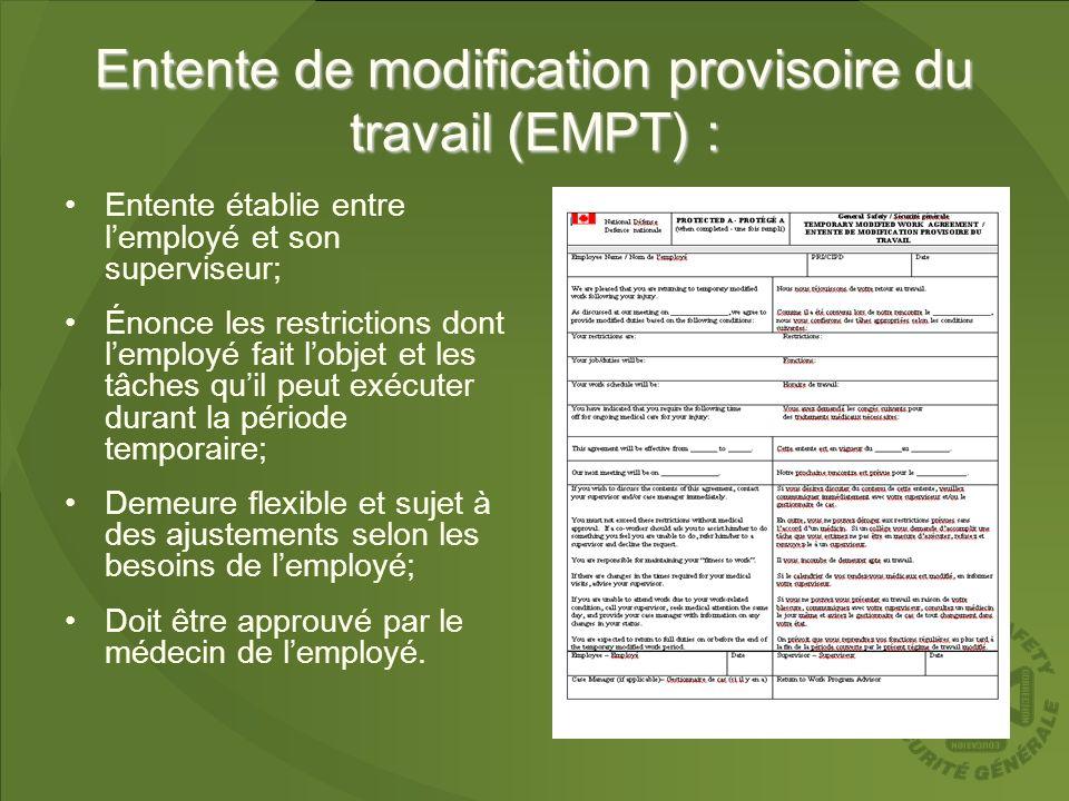 Entente de modification provisoire du travail (EMPT) : Entente établie entre lemployé et son superviseur; Énonce les restrictions dont lemployé fait l