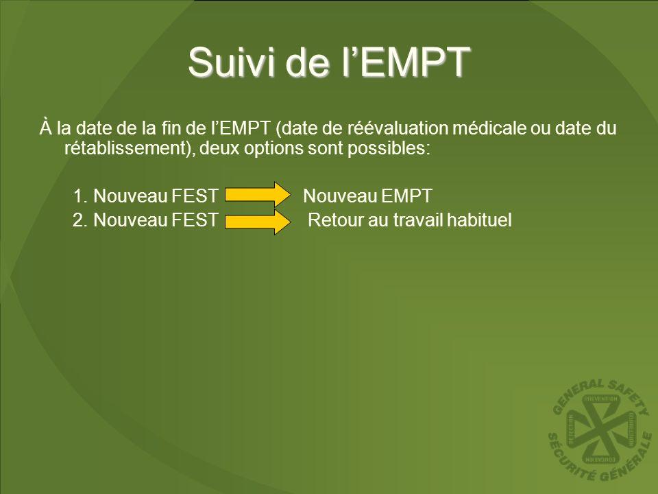 Suivi de lEMPT À la date de la fin de lEMPT (date de réévaluation médicale ou date du rétablissement), deux options sont possibles: 1.Nouveau FEST Nou