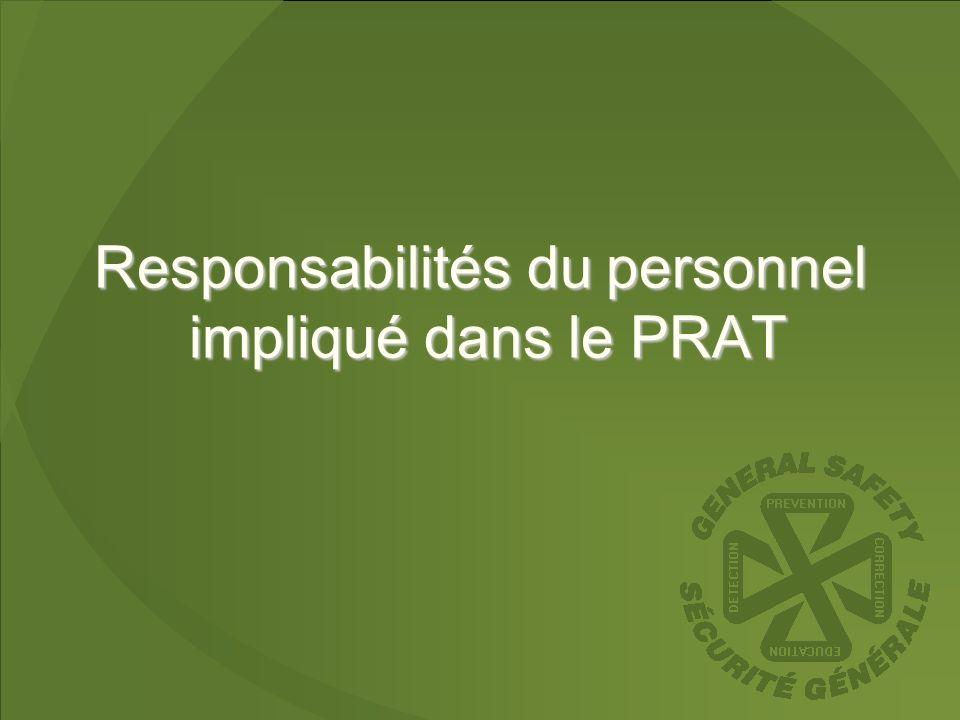 Responsabilités du personnel impliqué dans le PRAT