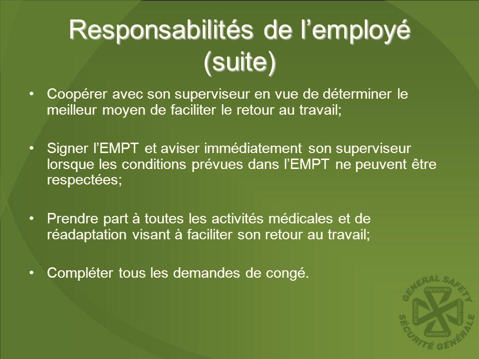 Responsabilités de lemployé (suite) Coopérer avec son superviseur en vue de déterminer le meilleur moyen de faciliter le retour au travail; Signer lEM
