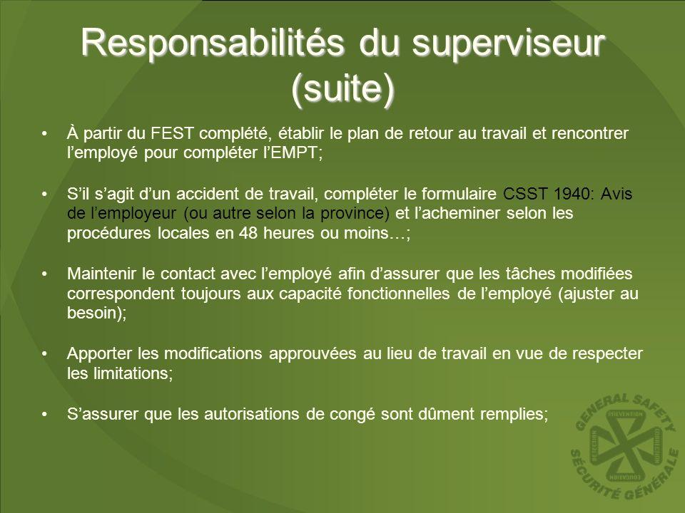 Responsabilités du superviseur (suite) À partir du FEST complété, établir le plan de retour au travail et rencontrer lemployé pour compléter lEMPT; Si