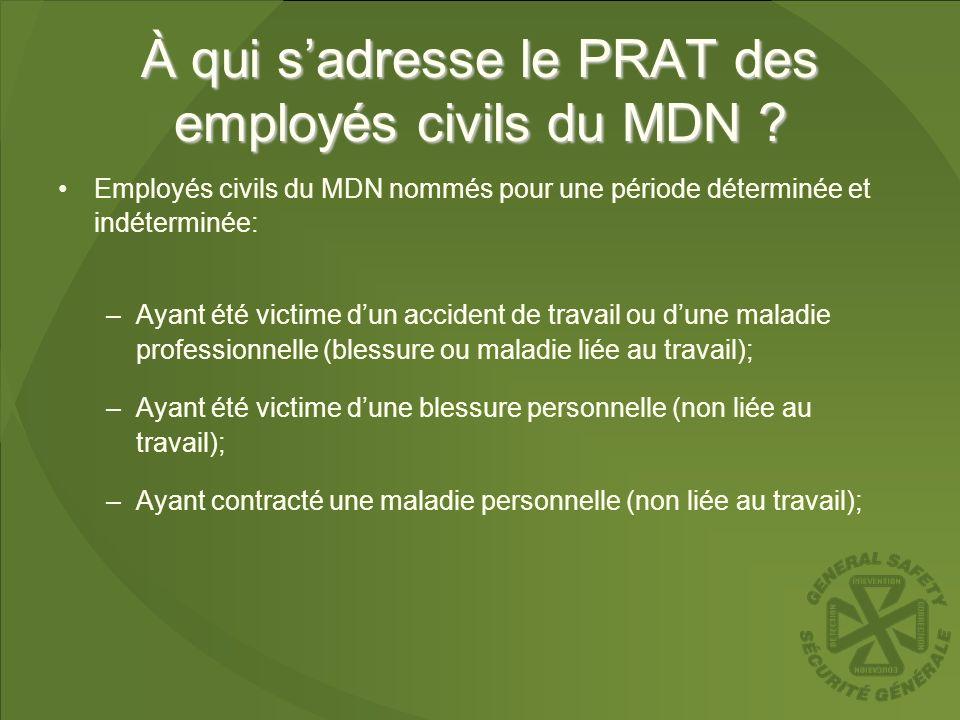À qui sadresse le PRAT des employés civils du MDN ? Employés civils du MDN nommés pour une période déterminée et indéterminée: –Ayant été victime dun