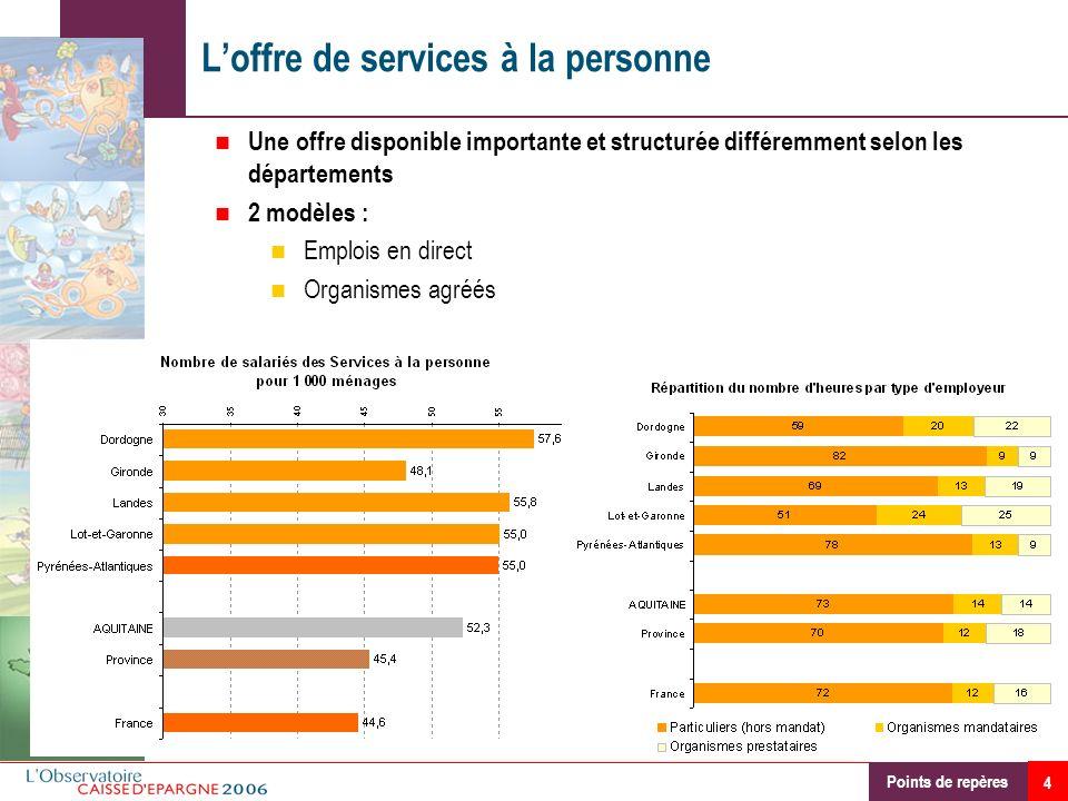 4 Loffre de services à la personne Une offre disponible importante et structurée différemment selon les départements 2 modèles : Emplois en direct Org