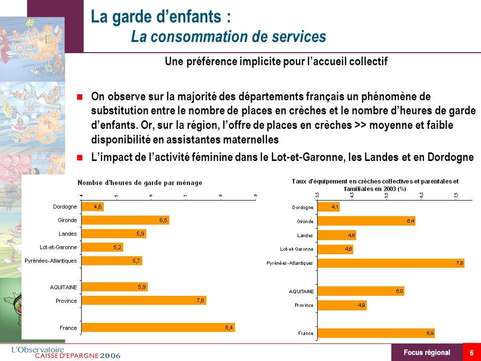 7 Les services de facilitation de la vie quotidienne : La consommation de services Une consommation élevée sur lensemble de la région Lactivité féminine, facteur central de la demande Un effet revenu et mode de vie (Gironde et Pyr.