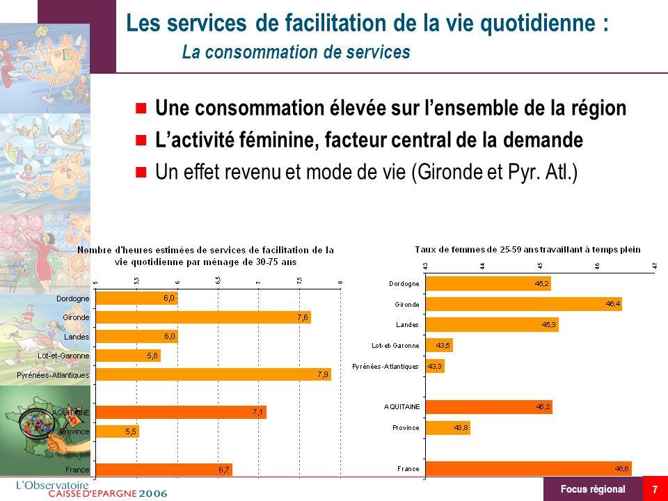 7 Les services de facilitation de la vie quotidienne : La consommation de services Une consommation élevée sur lensemble de la région Lactivité fémini
