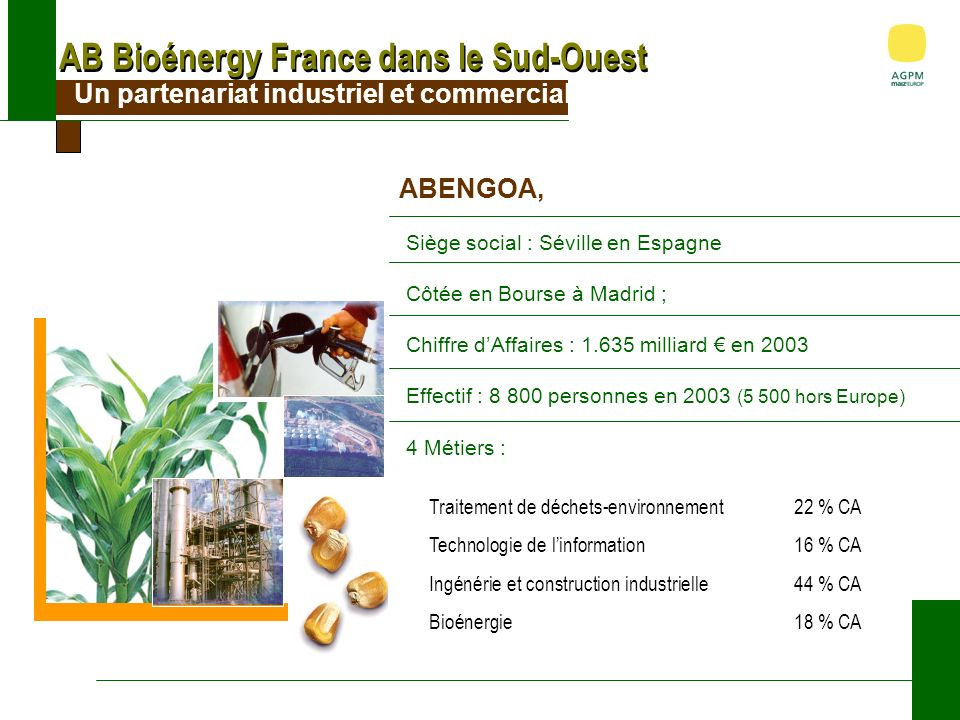 AB Bioénergy France dans le Sud-Ouest Un partenariat industriel et commercial ABENGOA, Siège social : Séville en Espagne Côtée en Bourse à Madrid ; Chiffre dAffaires : 1.635 milliard en 2003 Effectif : 8 800 personnes en 2003 (5 500 hors Europe) 4 Métiers : Traitement de déchets-environnement22 % CA Technologie de linformation16 % CA Ingénérie et construction industrielle44 % CA Bioénergie18 % CA