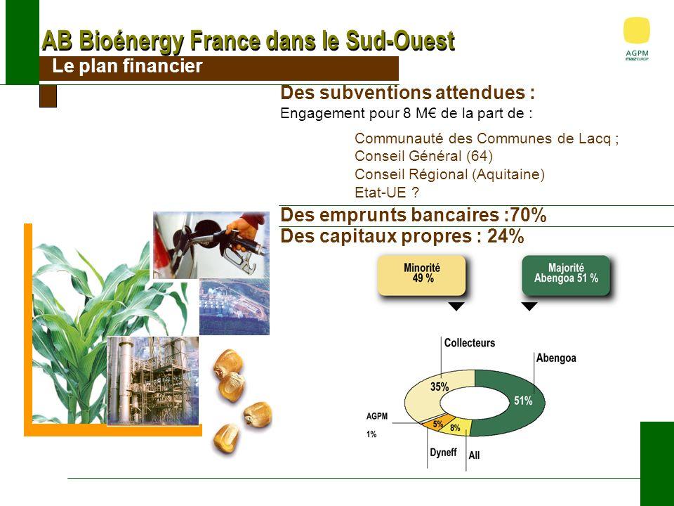 AB Bioénergy France dans le Sud-Ouest Le plan financier Des subventions attendues : Engagement pour 8 M de la part de : Communauté des Communes de Lacq ; Conseil Général (64) Conseil Régional (Aquitaine) Etat-UE .