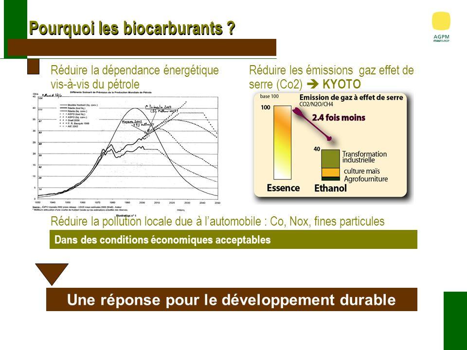 Les atouts des biocarburants Un bilan énergétique 2 fois meilleur que lessence Un bilan environnemental favorable Externalités environnementales (coût de réparation des dommages)