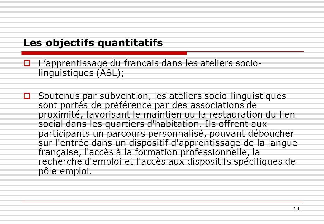 14 Les objectifs quantitatifs Lapprentissage du français dans les ateliers socio- linguistiques (ASL); Soutenus par subvention, les ateliers socio-lin