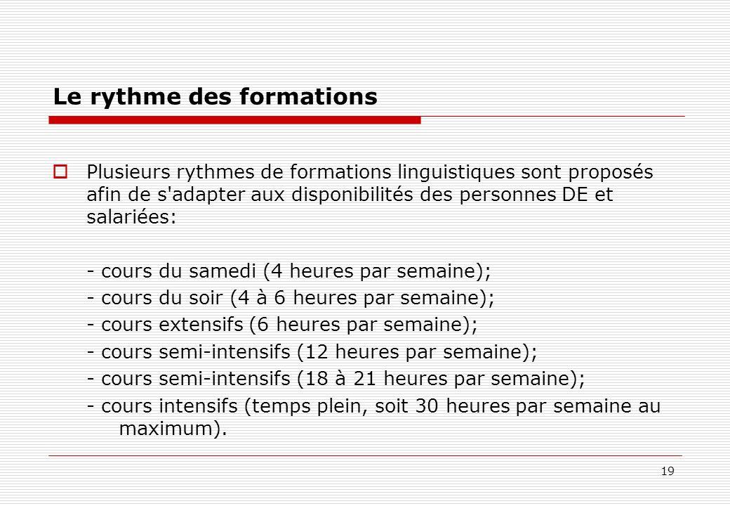 19 Le rythme des formations Plusieurs rythmes de formations linguistiques sont proposés afin de s'adapter aux disponibilités des personnes DE et salar