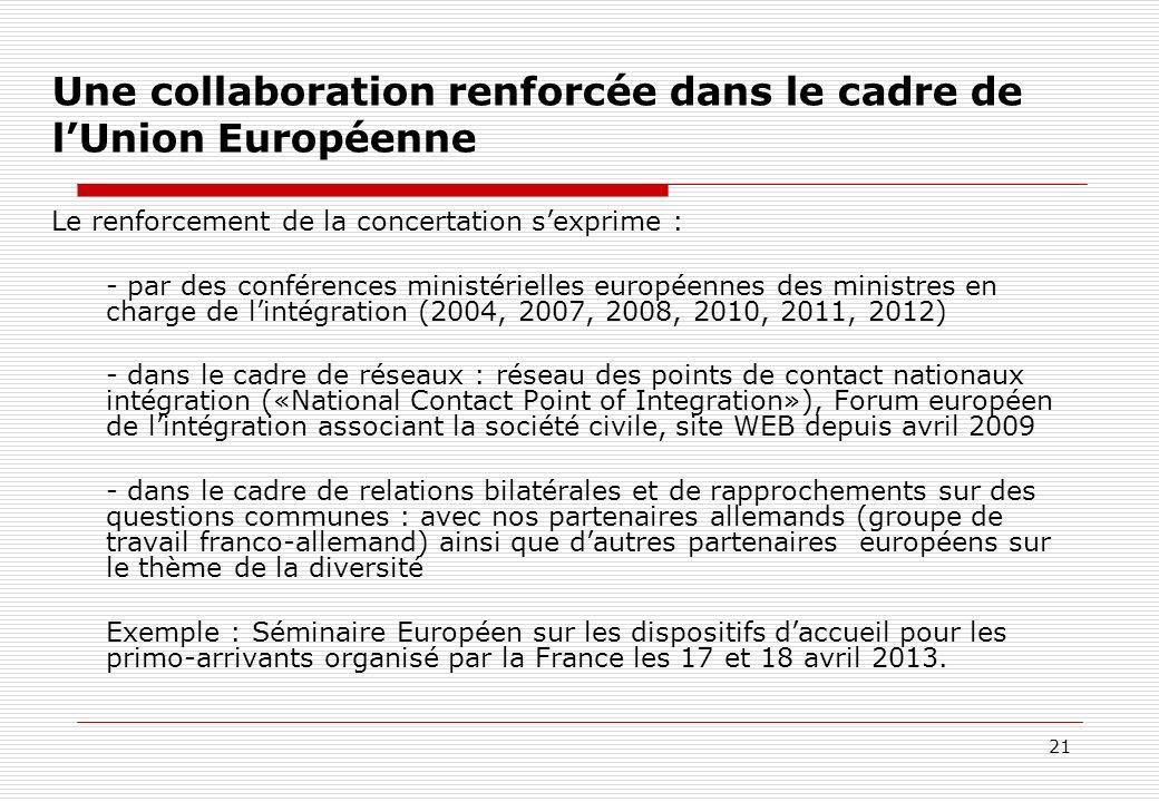 21 Une collaboration renforcée dans le cadre de lUnion Européenne Le renforcement de la concertation sexprime : - par des conférences ministérielles e