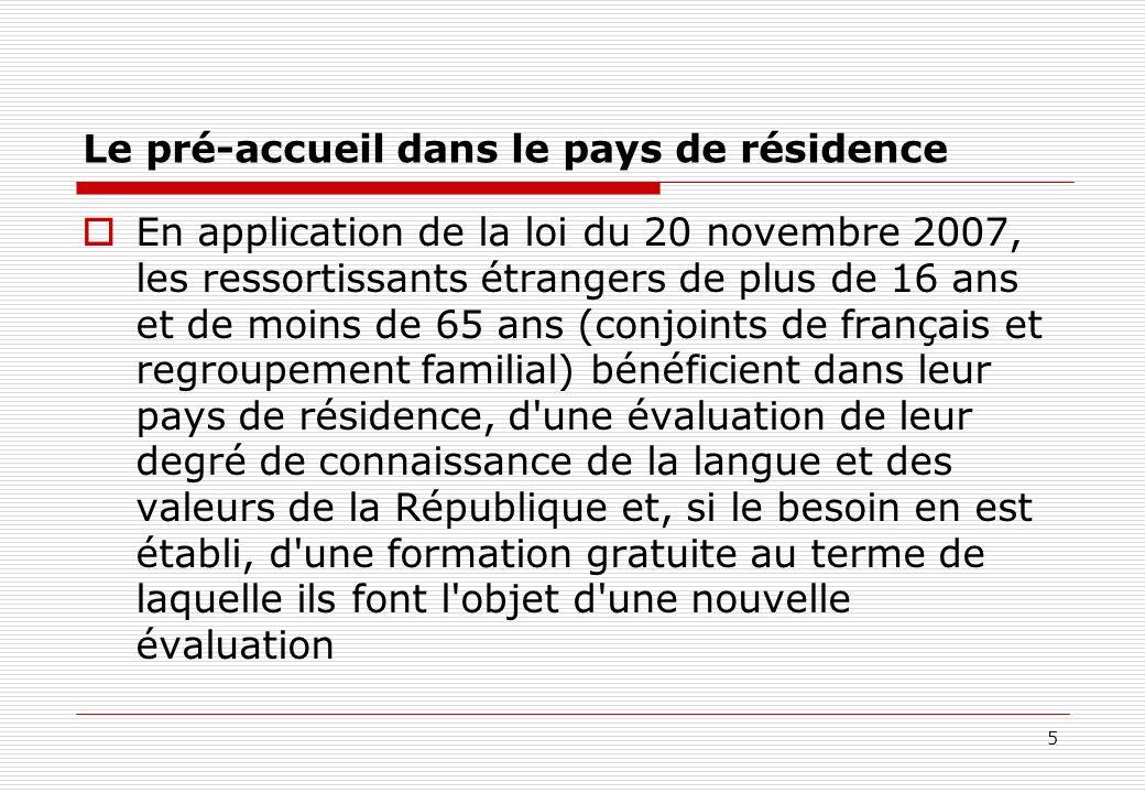 5 Le pré-accueil dans le pays de résidence En application de la loi du 20 novembre 2007, les ressortissants étrangers de plus de 16 ans et de moins de