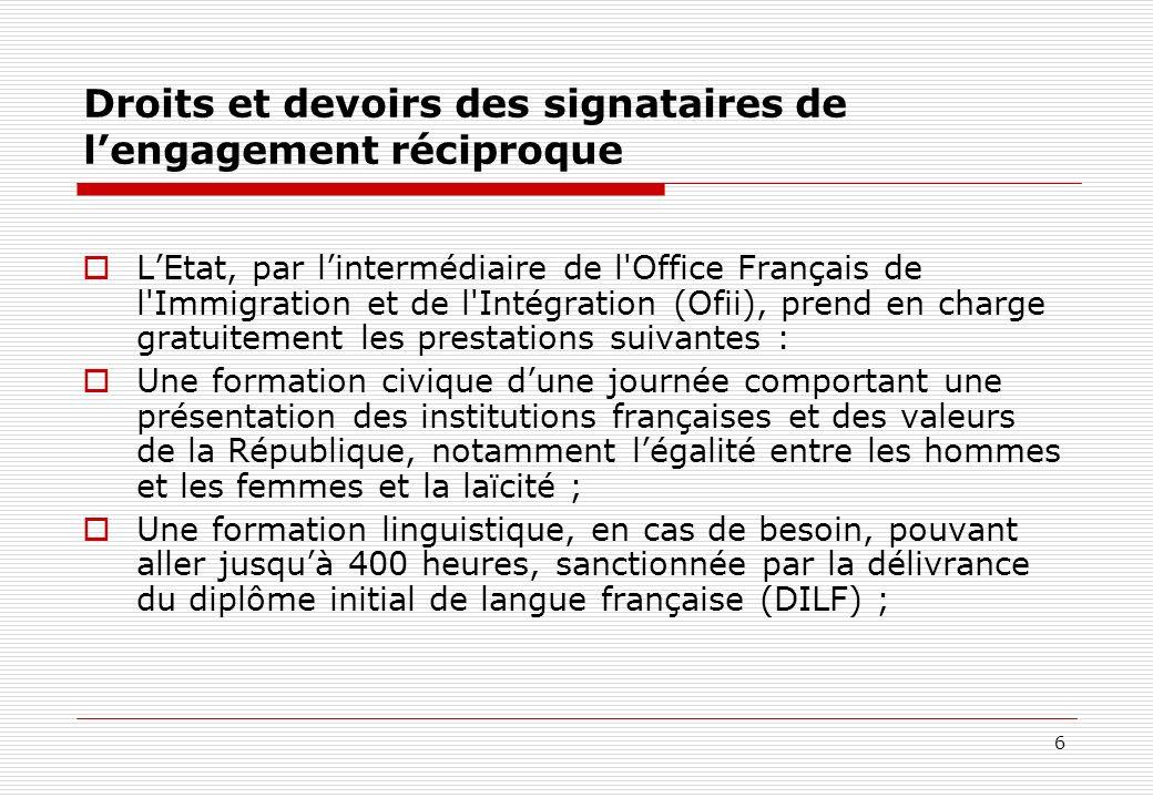 6 Droits et devoirs des signataires de lengagement réciproque LEtat, par lintermédiaire de l'Office Français de l'Immigration et de l'Intégration (Ofi