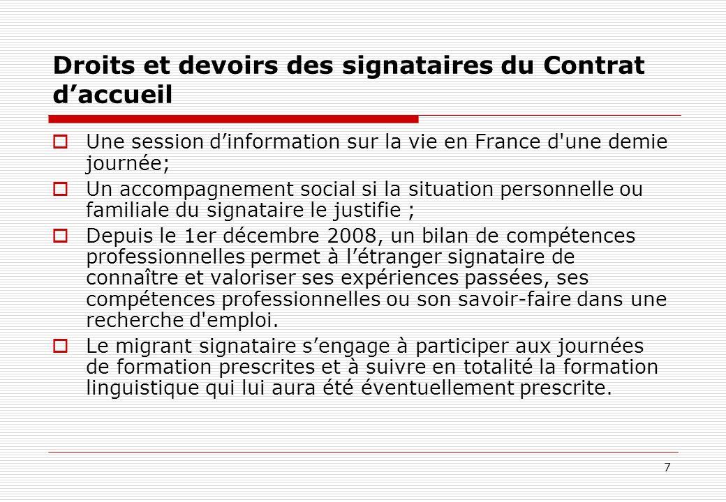 7 Droits et devoirs des signataires du Contrat daccueil Une session dinformation sur la vie en France d'une demie journée; Un accompagnement social si