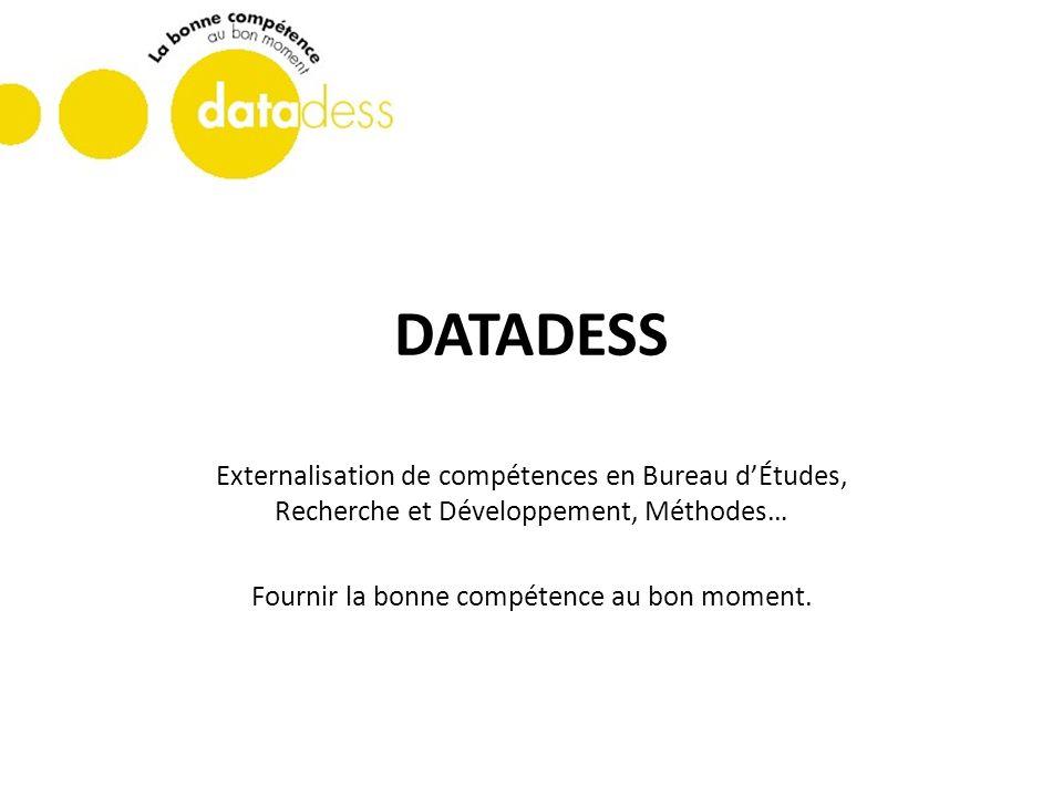 DATADESS Externalisation de compétences en Bureau dÉtudes, Recherche et Développement, Méthodes… Fournir la bonne compétence au bon moment.
