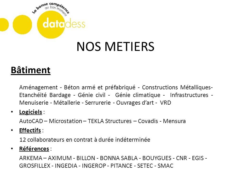 NOS METIERS Bâtiment Aménagement - Béton armé et préfabriqué - Constructions Métalliques- Etanchéité Bardage - Génie civil - Génie climatique - Infras