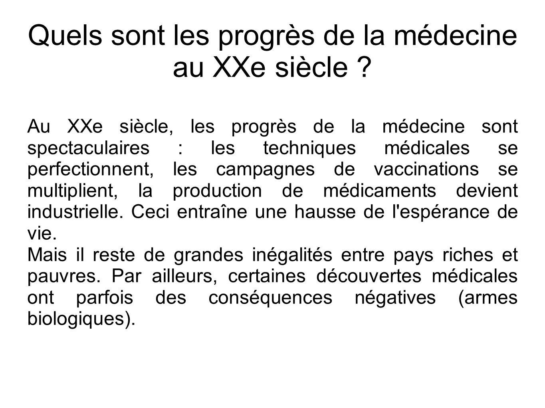 Quels sont les progrès de la médecine au XXe siècle ? Au XXe siècle, les progrès de la médecine sont spectaculaires : les techniques médicales se perf