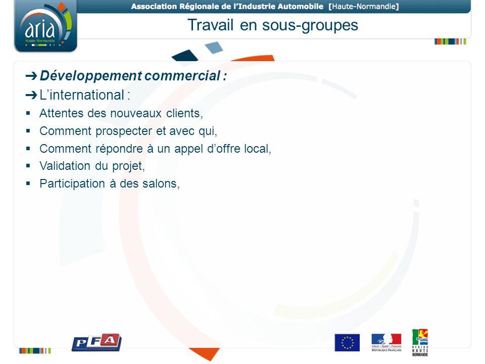 Travail en sous-groupes Développement commercial : Linternational : Attentes des nouveaux clients, Comment prospecter et avec qui, Comment répondre à