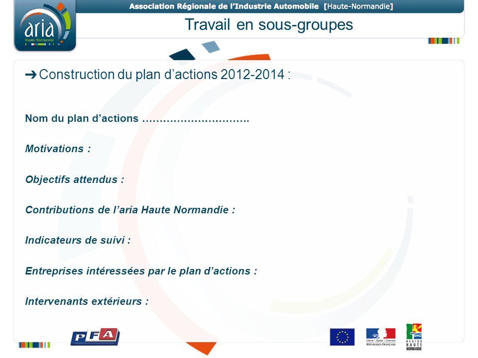 Travail en sous-groupes Construction du plan dactions 2012-2014 : Nom du plan dactions …………………………. Motivations : Objectifs attendus : Contributions de