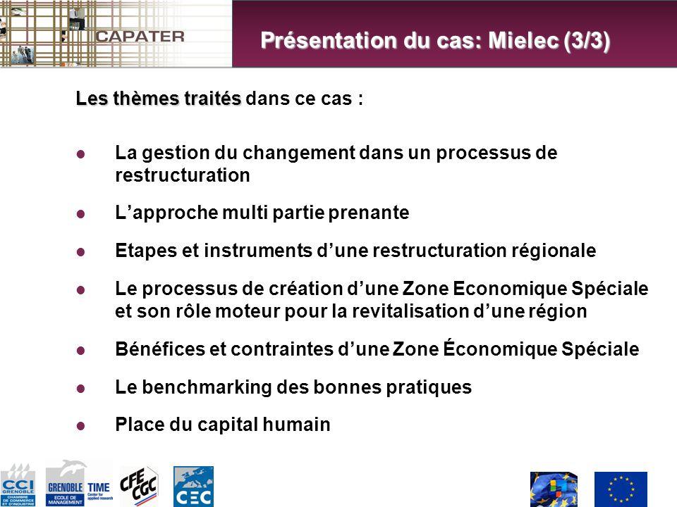 Les thèmes traités Les thèmes traités dans ce cas : La gestion du changement dans un processus de restructuration Lapproche multi partie prenante Etapes et instruments dune restructuration régionale Le processus de création dune Zone Economique Spéciale et son rôle moteur pour la revitalisation dune région Bénéfices et contraintes dune Zone Économique Spéciale Le benchmarking des bonnes pratiques Place du capital humain Présentation du cas: Mielec (3/3)