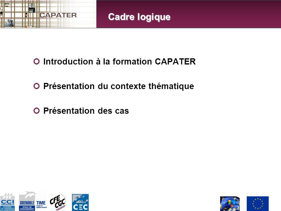 Introduction à la formation CAPATER Présentation du contexte thématique Présentation des cas Cadre logique