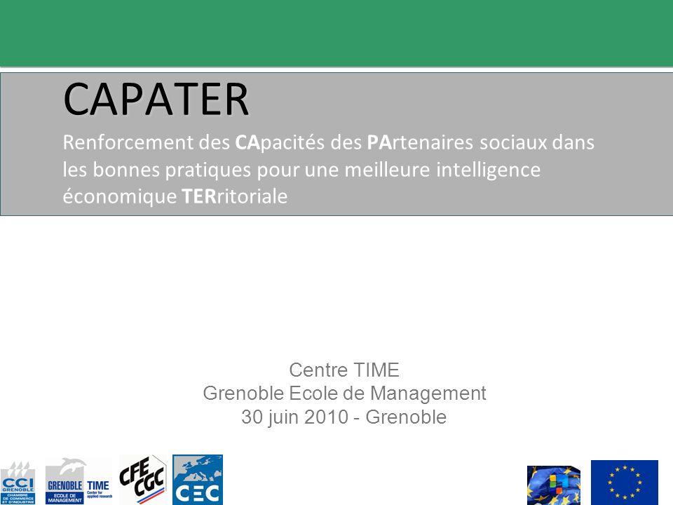 CAPATER CAPATER Renforcement des CApacités des PArtenaires sociaux dans les bonnes pratiques pour une meilleure intelligence économique TERritoriale Centre TIME Grenoble Ecole de Management 30 juin 2010 - Grenoble
