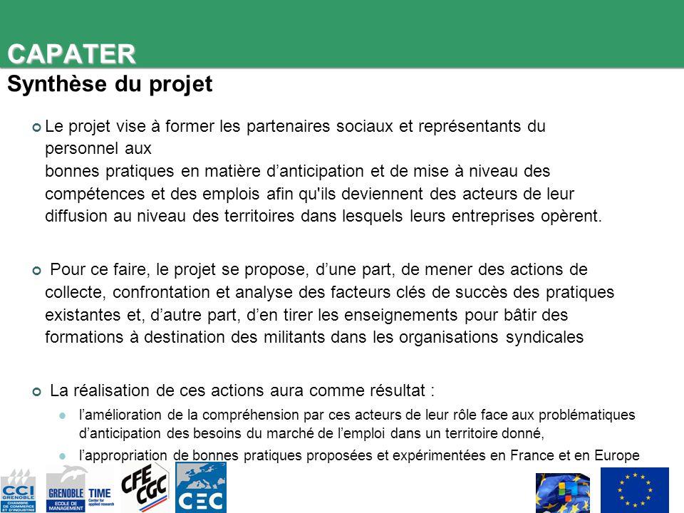 CAPATER CAPATER Synthèse du projet Le projet vise à former les partenaires sociaux et représentants du personnel aux bonnes pratiques en matière danti