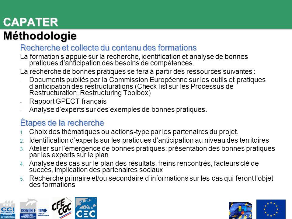 CAPATER Méthodologie Recherche et collecte du contenu des formations La formation sappuie sur la recherche, identification et analyse de bonnes pratiques danticipation des besoins de compétences.