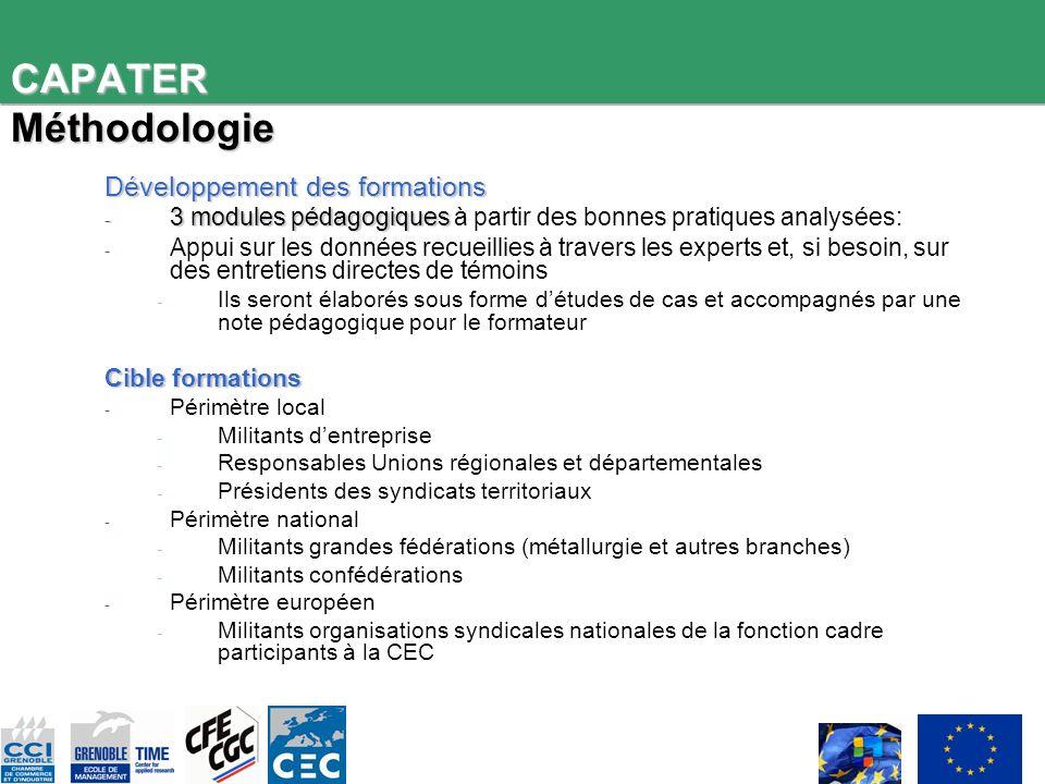 CAPATER Méthodologie Développement des formations - 3 modules pédagogiques - 3 modules pédagogiques à partir des bonnes pratiques analysées: - Appui s