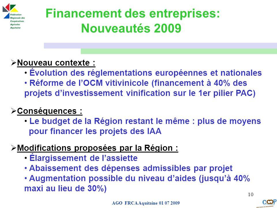 Page de garde AGO FRCA Aquitaine 01 07 2009 10 Financement des entreprises: Nouveautés 2009 Nouveau contexte : Évolution des réglementations européenn