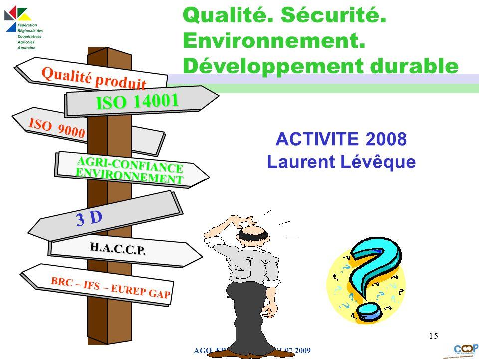 Page de garde AGO FRCA Aquitaine 01 07 2009 15 ACTIVITE 2008 Laurent Lévêque ISO 14001 Qualité produit ISO 9000 AGRI-CONFIANCE ENVIRONNEMENT ISO 14001