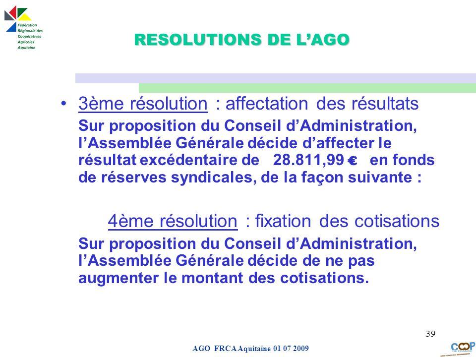 Page de garde AGO FRCA Aquitaine 01 07 2009 39 RESOLUTIONS DE LAGO 3ème résolution : affectation des résultats Sur proposition du Conseil dAdministrat