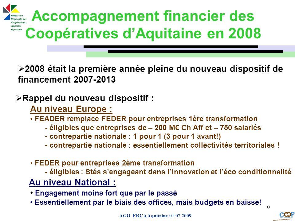 Page de garde AGO FRCA Aquitaine 01 07 2009 6 Accompagnement financier des Coopératives dAquitaine en 2008 2008 était la première année pleine du nouv