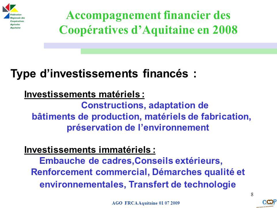 Page de garde AGO FRCA Aquitaine 01 07 2009 8 Type dinvestissements financés : Investissements matériels : Constructions, adaptation de bâtiments de p