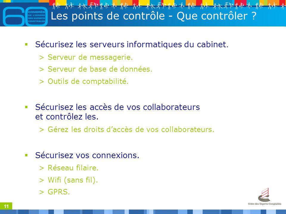 11 Les points de contrôle - Que contrôler . Sécurisez les serveurs informatiques du cabinet.
