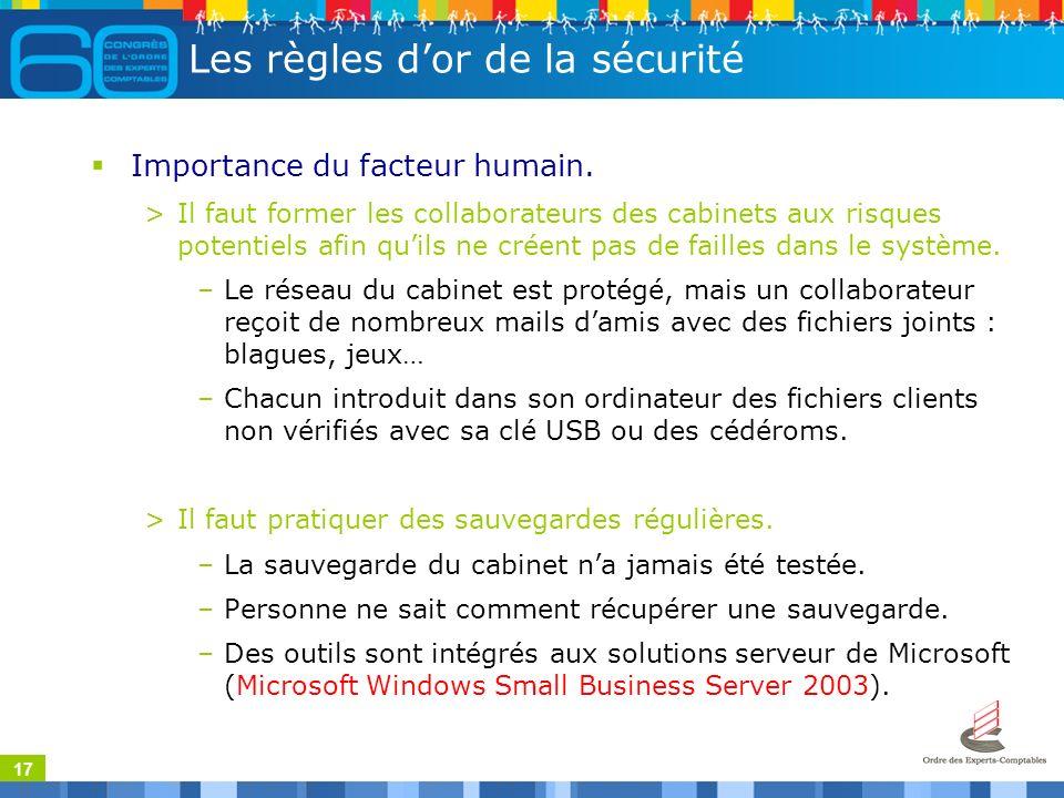 17 Les règles dor de la sécurité Importance du facteur humain.
