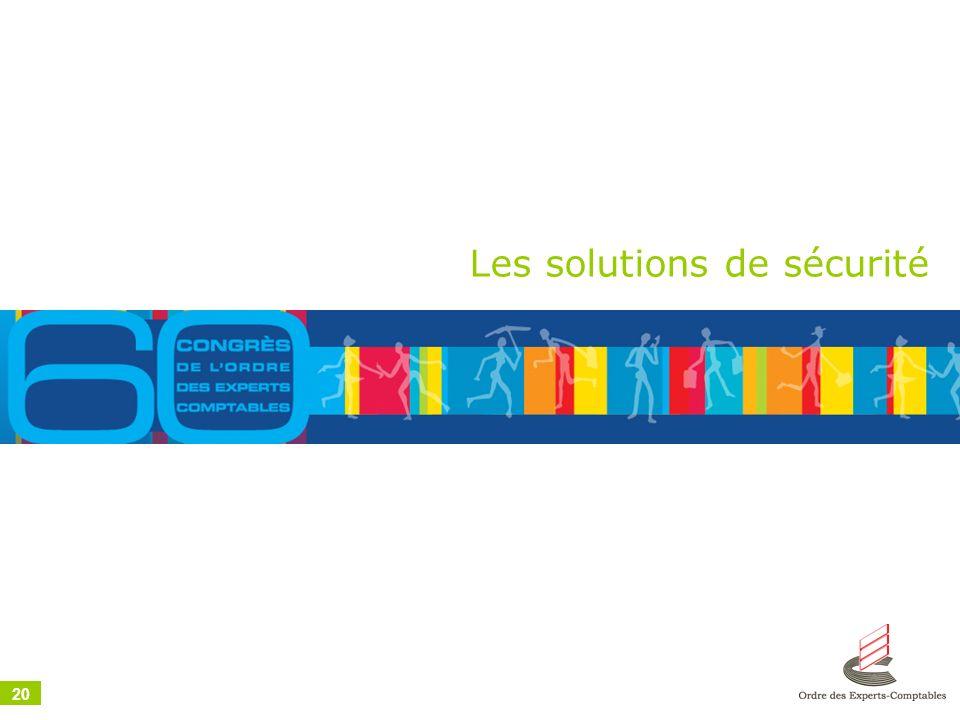20 Les solutions de sécurité