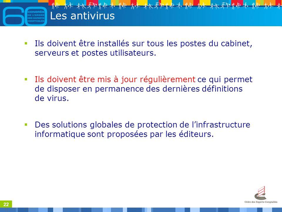 22 Les antivirus Ils doivent être installés sur tous les postes du cabinet, serveurs et postes utilisateurs.
