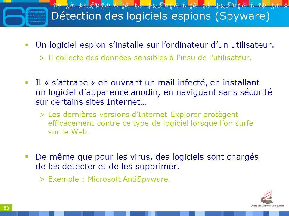 23 Détection des logiciels espions (Spyware) Un logiciel espion sinstalle sur lordinateur dun utilisateur.