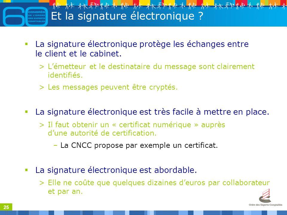25 Et la signature électronique .